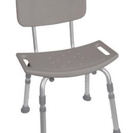 Shower Safety Bench W/Back - KD  Tool-Free Assembly Grey - Image Number 63279