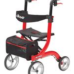 Nitro Rollator  Red - Attractive  Euro-style design * Brake cable inside frame for add